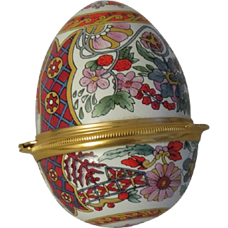 Halcyon Days Large Red Floral Egg Shaped Enamel Box with Stand
