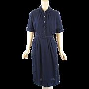 1950s Crepe Shirtwaist Dress w/ Pearl Buttons B39 W32