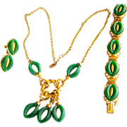 REDUCED PRICE Vintage Miriam Haskell Necklace, Bracelet, Earrings Set Gilt & Green Plastic