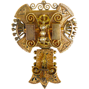 Ornate Victorian Brooch Pin 14K Yellow Gold Raised Design with Dangle Bottom