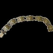 Art Nouveau Bracelet Each Link has Pressed Woman's Face 800 Silver