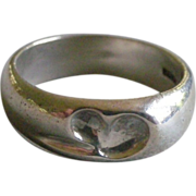 Tiffany & Co. Ring Elsa Peretti Sterling Silver Band with Heart