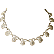 Exquisite Vintage Necklace by Theodor Fahrner Sterling Silver Corded Wire with Marcasites Eternity Looped Fringe Links