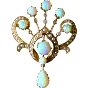 Spectacular Vintage Pin and Pendent Vivid Opals, Seed Pearls, Diamonds, 14K Yellow gold
