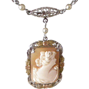 Vintage Shell Cameo and 10K White Gold Filigree Pendent Necklace Early Art Deco Era