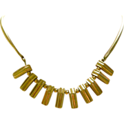 Superb 1940's Retro Necklace 14K Yellow Gold Rectangular Fringe Snake Link Chain