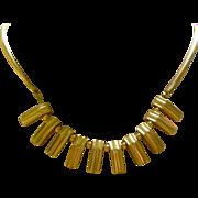 Superb 1940's Retro Necklace 14K Yellow Gold Rectangular Fringe Snake Link Chain
