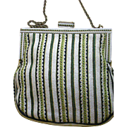 Exquisite Needlepoint Embroidery Vintage Purse Enamel Frame and Clasp Excellent Condition