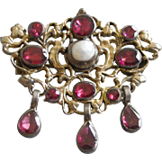 Ornate Vintage Pin from Hungary Vermeil with Genuine Garnets and Pearl