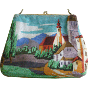 Vintage Scenic Beaded Bag Vibrant Colors Puffy Square Shape Christine Custom Bags Detroit