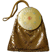 Evans Deco Dance Purse Guilloche Yellow Enamel Compact Top Golden Metal Mesh Purse