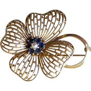Elegant Retro 1940s Pin 14K Yellow Gold Flower Petals with Sapphires and Cultured Pearl Center