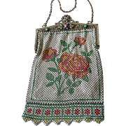 Glorious Mandalian Deco Enamel Mesh Bag Purse Red Rose/Pink Design, Jeweled Frame