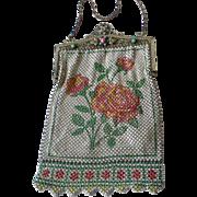 Glorious Mandalian Deco Enamel Mesh Bag Purse Red Rose/Pink Design, Jeweled Frame