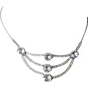 Chic Art Deco Festoon Necklace with Large Open Back Clear Crystals Three Strand Drop