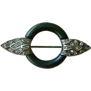 Art Deco Pin Simple Elegance Black Matte Enamel with Rhinestone Wings 935 Silver