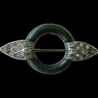 Art Deco Pin Simple Elegance Black Matte Enamel with Rhinestone Wings 935 Silver