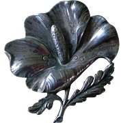 Fabulous Vintage Large Flower Pin Sterling Silver by Cini