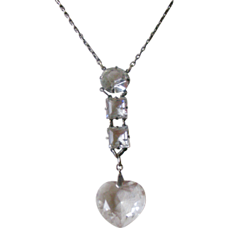 Art Deco Pendent Necklace Clear Crystals Set in Sterling Silver Heart Shape Crystal at Bottom