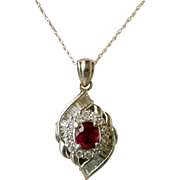 Magnificent Mid-Century Pendent Necklace Diamonds with Ruby Center Platinum