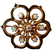 Gorgeous 1960's Pin 14K Yellow Gold & Enamel Open Round Flower with Diamond Center and Opals Around