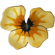 David Andersen Norway PANSY Pin Brooch, Yellow Enamel + Sterling