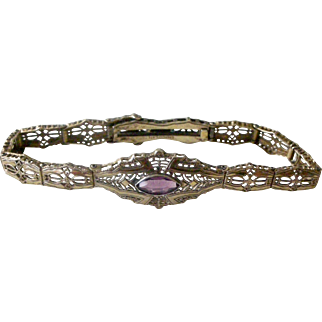 Vintage Gold Filled Lacy Filigree Bracelet with Faux Amethyst