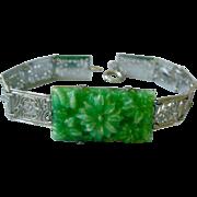 Art Deco Bracelet Lacy Filigree Links with Molded Green Flower Jadite Center
