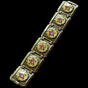 Unique Enamel Flower Plaques Within Sterling Silver Link Bracelet Deco Era PRICE REDUCED