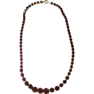 Elegant Deep Red Rhinestone Line Necklace Deco Era
