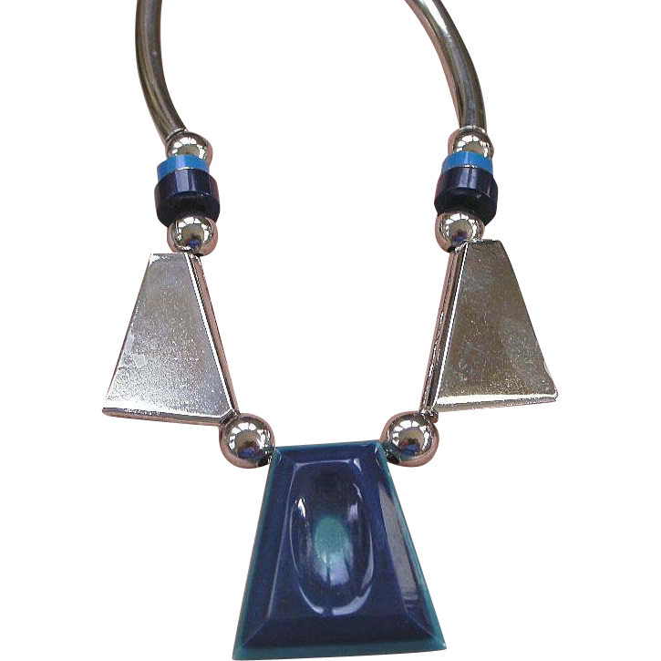 Jakob Bengel, Germany Blue Galalith Plastic Necklace from the Art Deco era