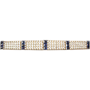 Exceptional Edwardian Platinum Bar Pin with Natural Pearls and Blue Sapphires