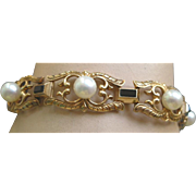 Superb Vintage  Mikimoto Link Bracelet Cultured Pearls Black Enamel 14K Yellow Gold