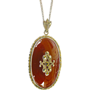 Art Deco Pendent Necklace from Czechoslovakia Carnelian Art Glass with Marcasites and Sterling Silver