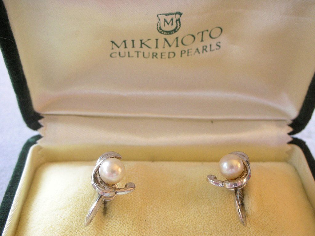 VINTAGE Mid-Century Mikimoto Cultured Pearl Sterling Silver Earrings in Original Box PRICE REDUCED