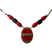 Superior Art Deco Era Necklace Red and Black Galalith, Chrome Attributed to Jakob Bengel, Germany