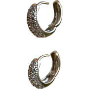 Sleek Contemporary Diamonds in 14K White Gold Huggie Hoop Earrings