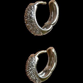 Sleek Contemporary Diamonds in 14K White Gold Huggie Hoop Earrings