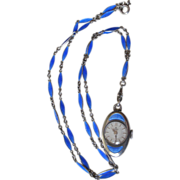 Bucherer Royal Blue Enamel & Sterling Silver Pendent Watch PRICE REDUCED