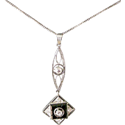 Deco Era Pendent Necklace Platinum, Diamonds, Onyx Geometric Long Pendent