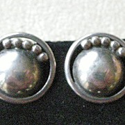 PRICE REDUCED! Stately Round Vintage Kalo Sterling Silver Earrings