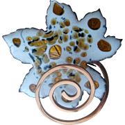 Vintage Matisse Pin Enamel on Copper Leaf with Curly Stem