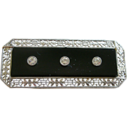 Superb Art Deco Pin Diamonds in Black Onyx Set in 14K White Gold Filigree Rectangle