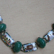 Fine Egyptian Revival Bracelet with Enamel Scenes & Chrysophase
