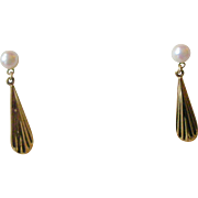Chic Vintage Earrings Cultured Pearl with Gold Filled Drop