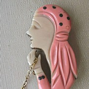 Art Deco Galalith Plastic Pin Fortune Teller Lady Crystal Ball Dangle