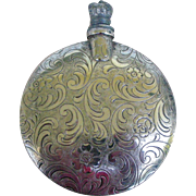 Vintage Beautifully Engraved Silver Large Perfume Flask Crown on Screw-off Top