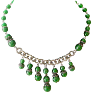 Fascinating Art Deco Necklace Glowing Green Beads Graduated Length Dangles