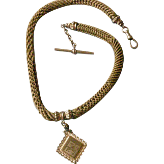 Victorian Woven Hair Watch Chain and Gold Tone Locket Fob