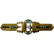 Magnificent Edwardian Era Pin Brooch 15K Yellow Gold with Emeralds and Diamonds Unique Design